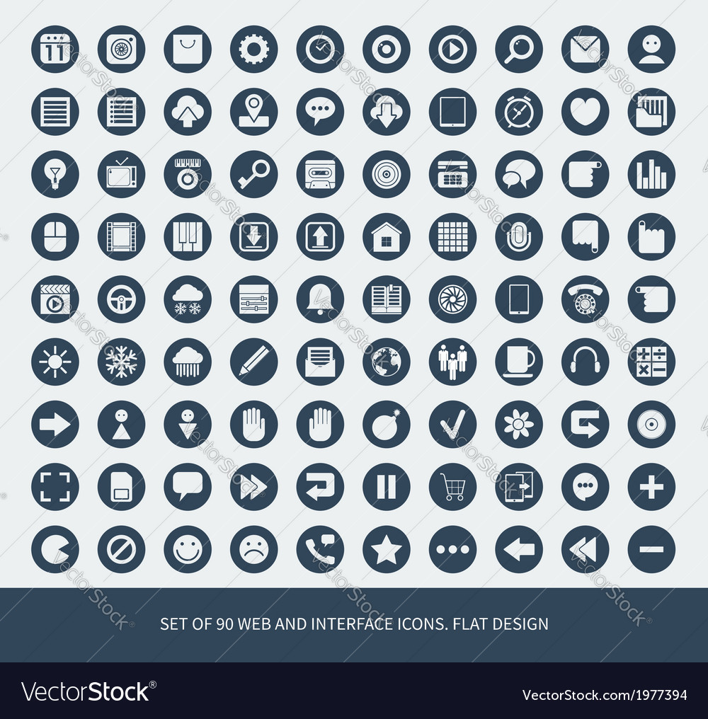 Set of 90 web and mobile icons for business vector | Price: 1 Credit (USD $1)