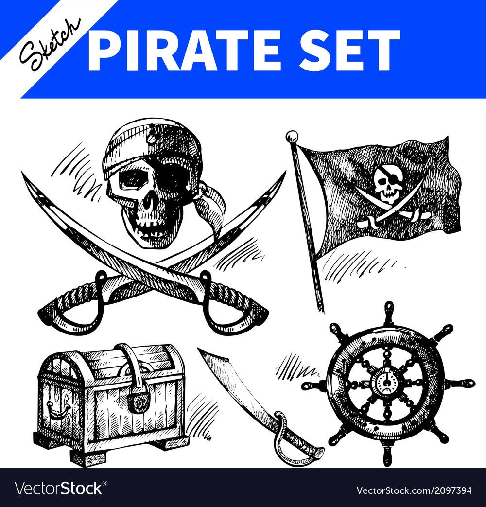 Sketch pirates set vector | Price: 1 Credit (USD $1)
