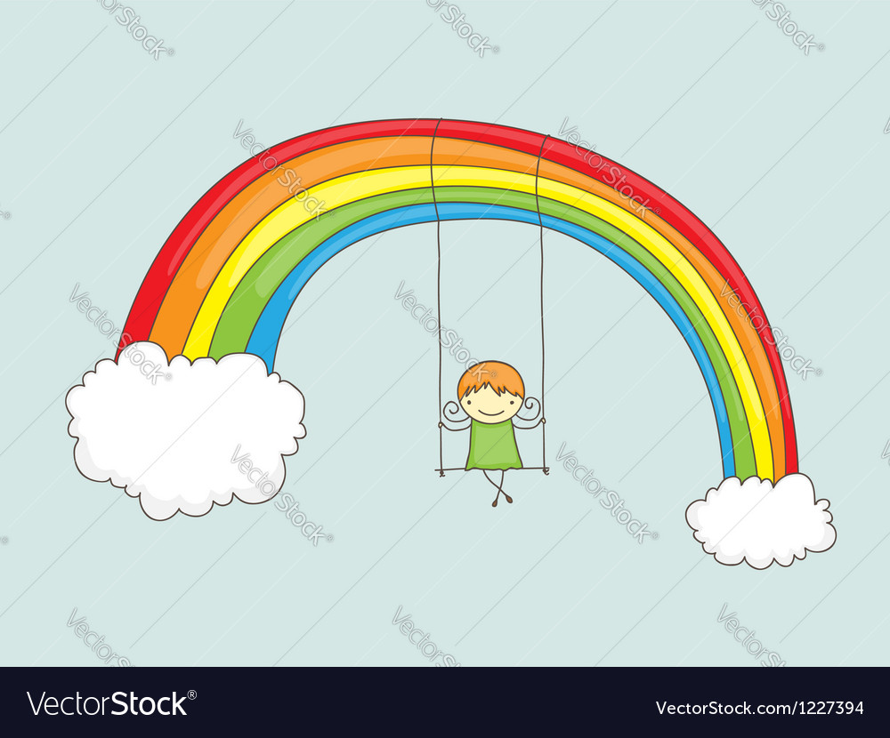 Swinging on rainbow vector | Price: 1 Credit (USD $1)