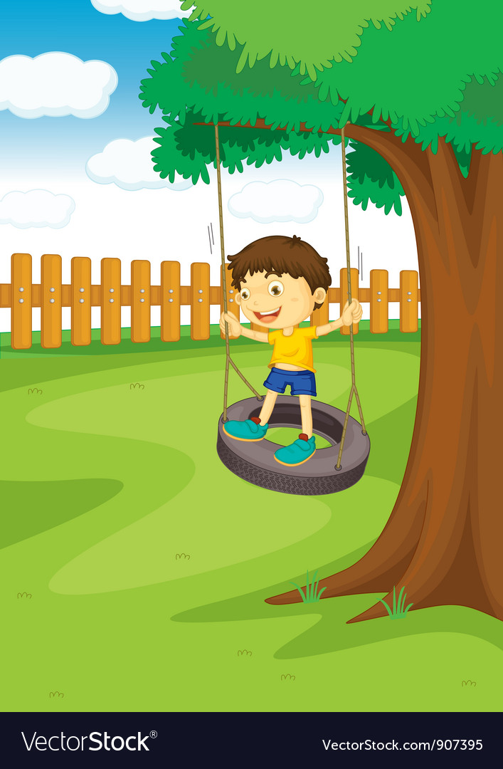 Boy on a swing vector | Price: 3 Credit (USD $3)