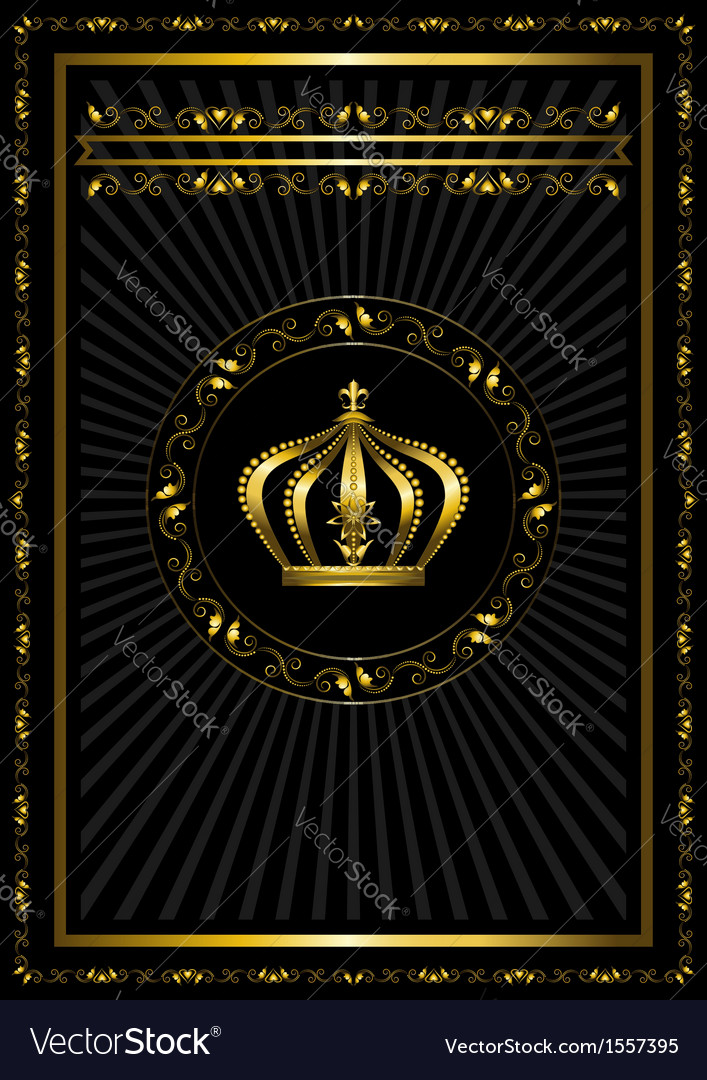 Gold frame with a badge and crown vector | Price: 1 Credit (USD $1)