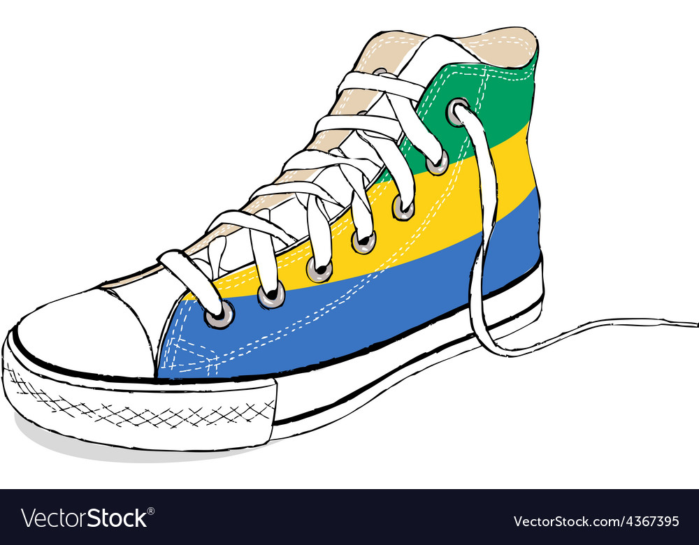 Hand draw modern sport shoes with gabon flag vector | Price: 1 Credit (USD $1)