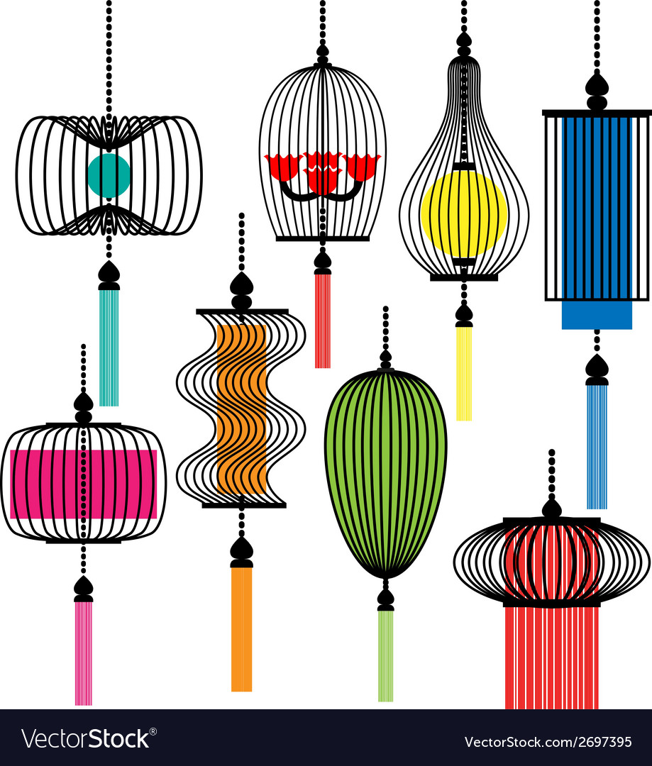 Modern lamp set vector | Price: 1 Credit (USD $1)