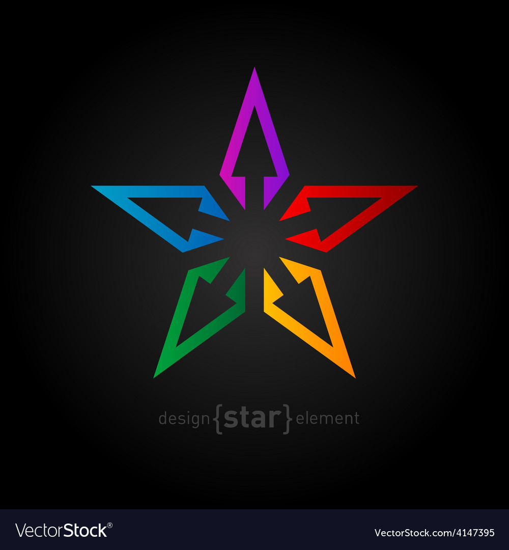 Spectrum star abstract design element on black vector | Price: 1 Credit (USD $1)