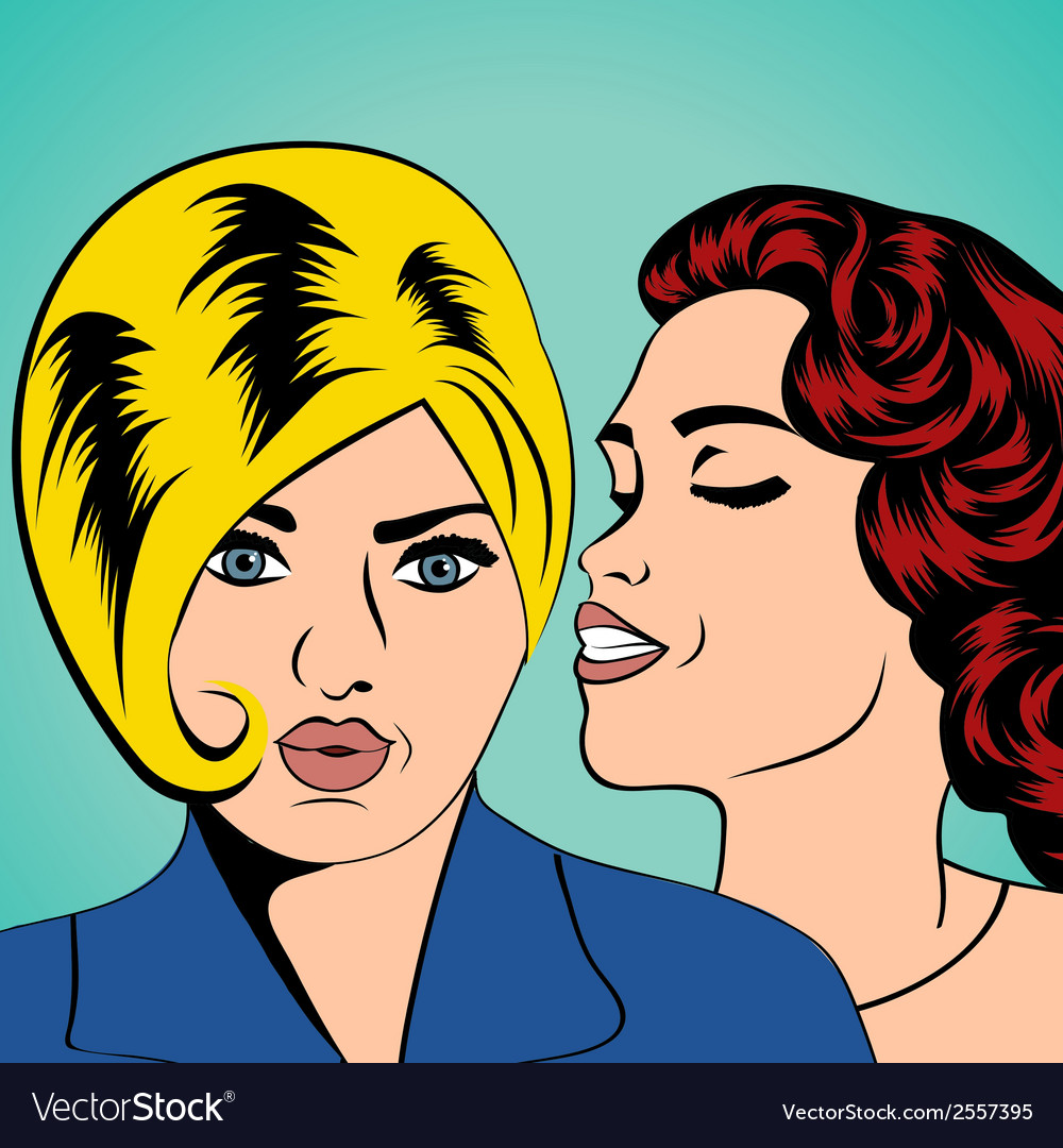 Two young girlfriends talking comic art vector | Price: 1 Credit (USD $1)