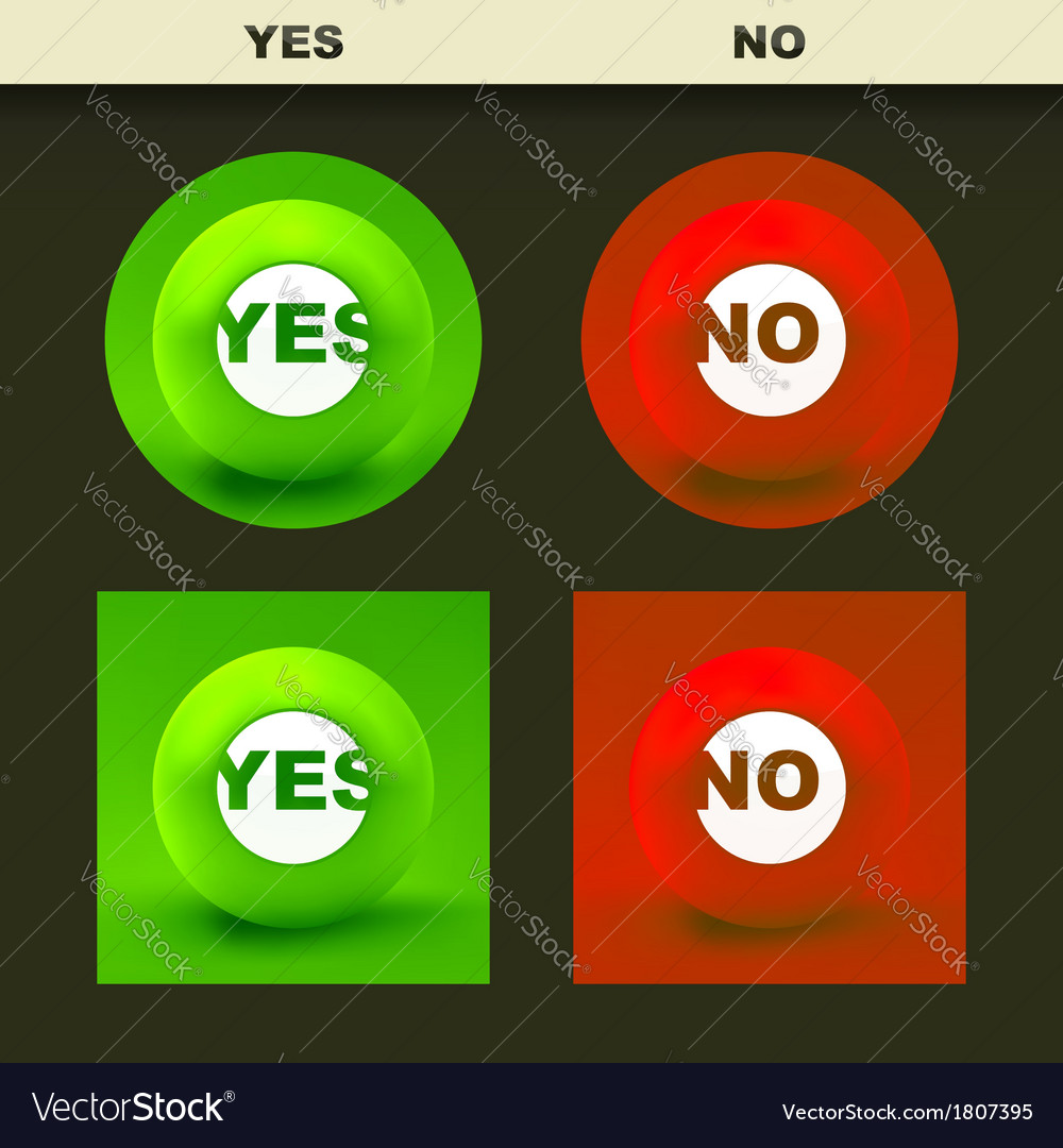 Yes and no icon set for design vector | Price: 1 Credit (USD $1)