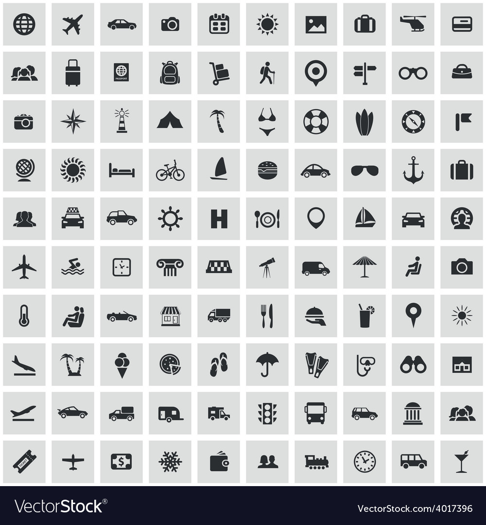 100 travel icons vector | Price: 1 Credit (USD $1)