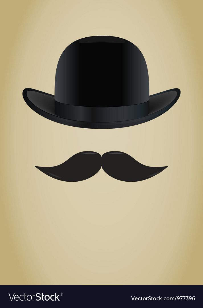 Bowler hat and moustache vector | Price: 1 Credit (USD $1)