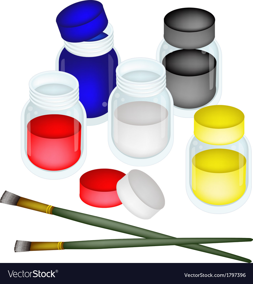 Colorful color paint jars with artist brushes vector | Price: 1 Credit (USD $1)