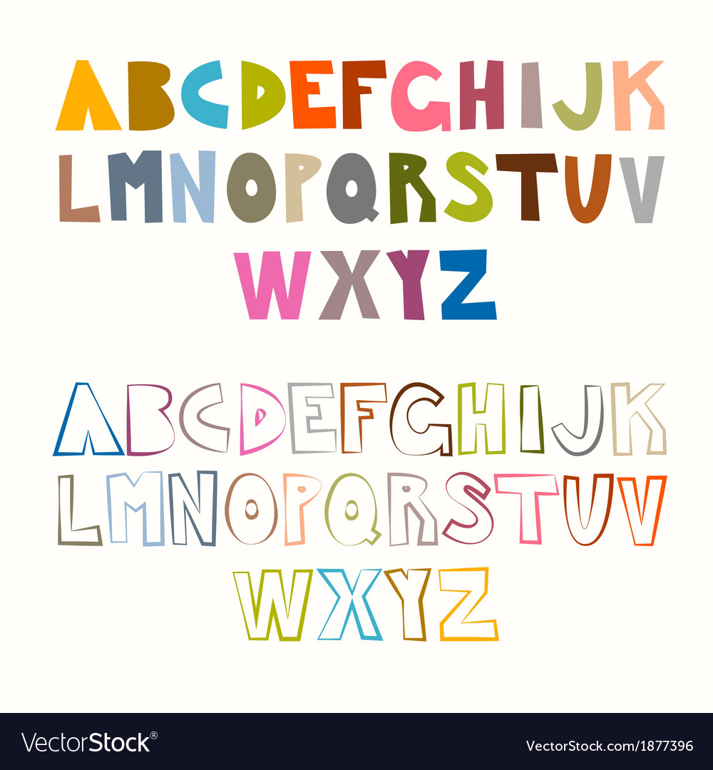 Funny alphabet sets colorful and outlined vector | Price: 1 Credit (USD $1)