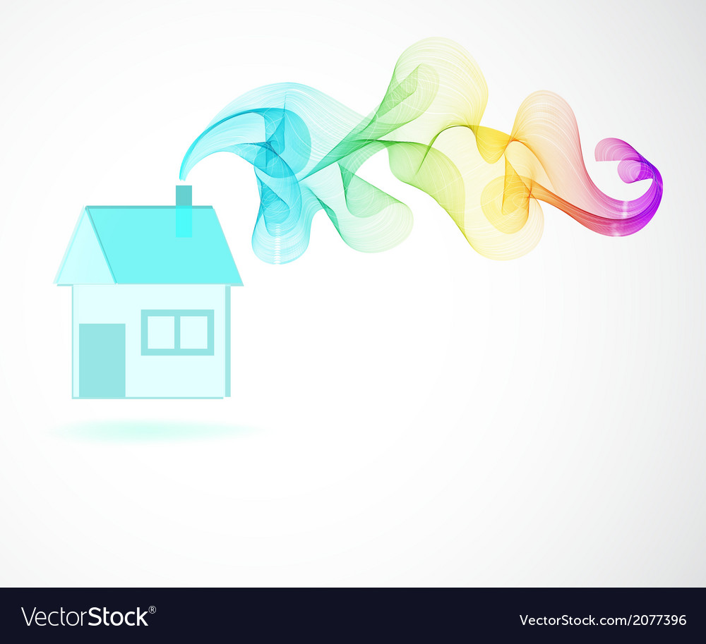 House icon and color abstract wave vector | Price: 1 Credit (USD $1)