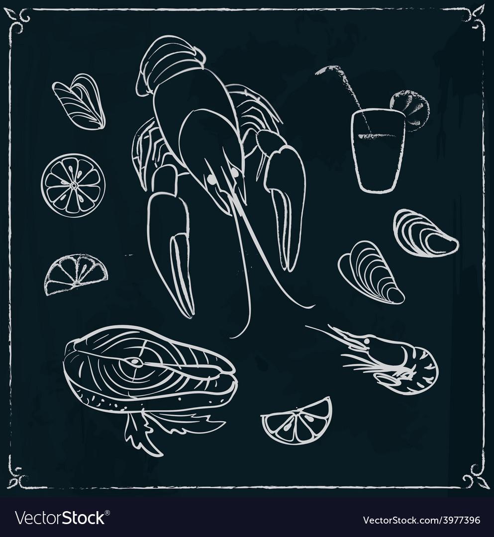 Menu design with seafood on blackboard vector | Price: 1 Credit (USD $1)