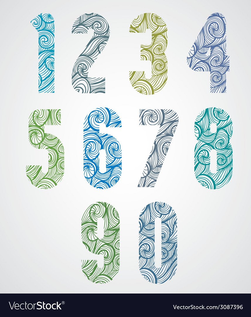 Old style numbers with hand drawn curly lines vector | Price: 1 Credit (USD $1)