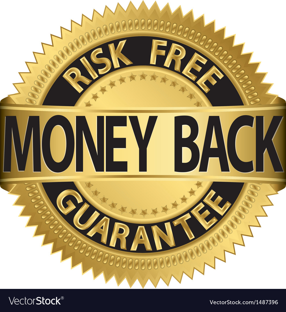 Risk free money back guarantee gold label vector | Price: 1 Credit (USD $1)