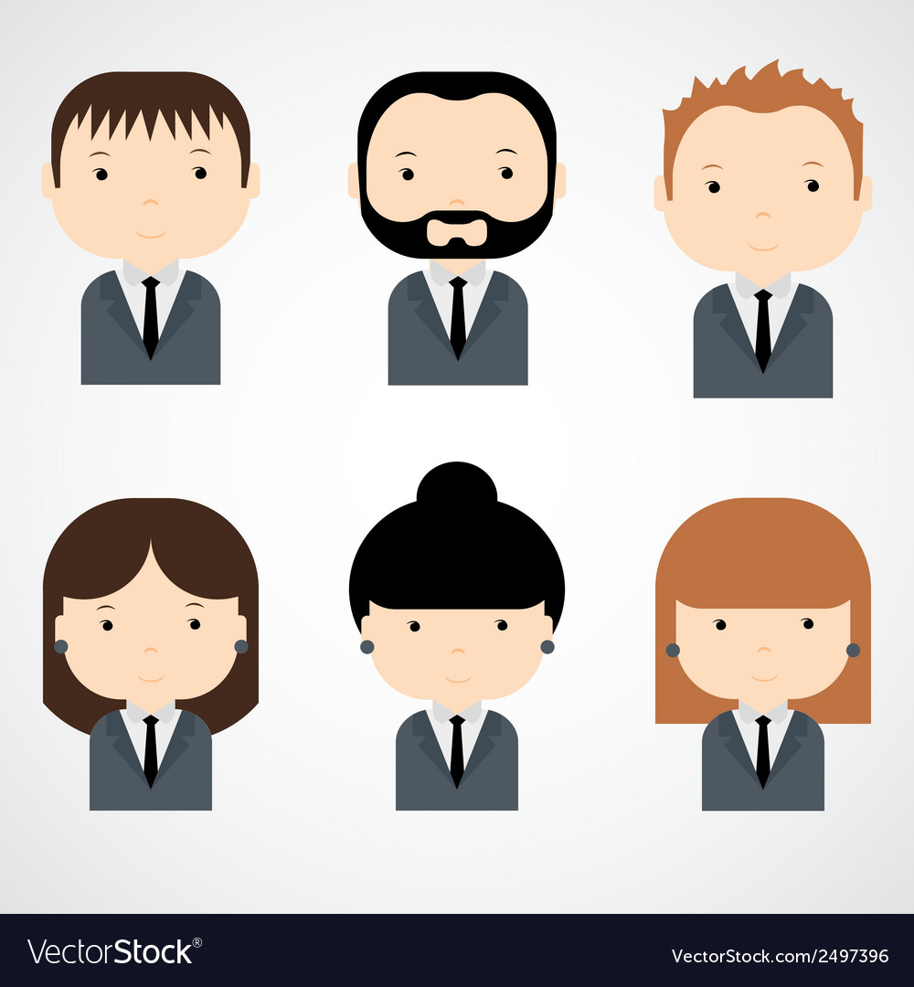 Set of colorful office people icons businessman vector | Price: 1 Credit (USD $1)