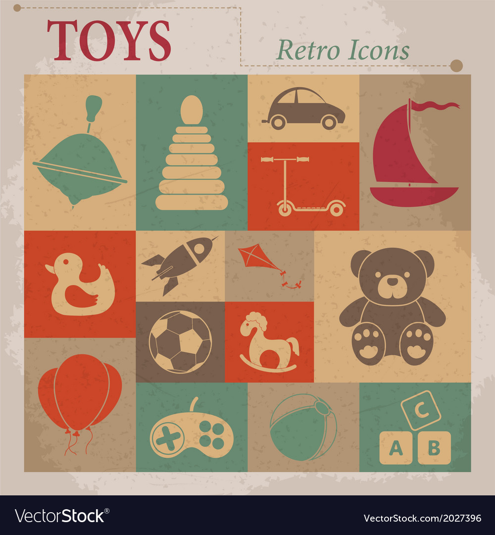 Toys flat icons vector | Price: 1 Credit (USD $1)