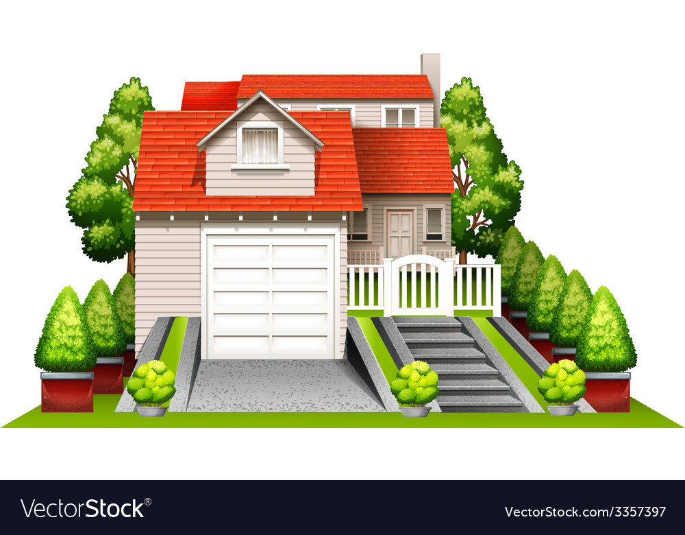 A beautiful house with plants vector | Price: 3 Credit (USD $3)