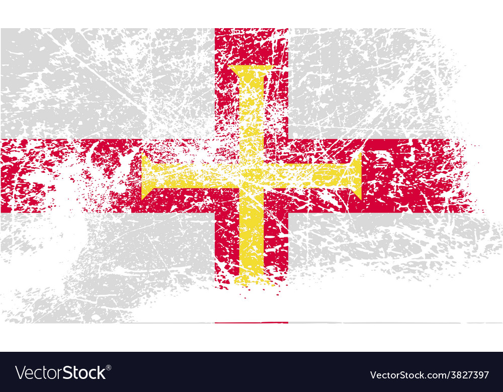 Flag of guernsey with old texture vector | Price: 1 Credit (USD $1)