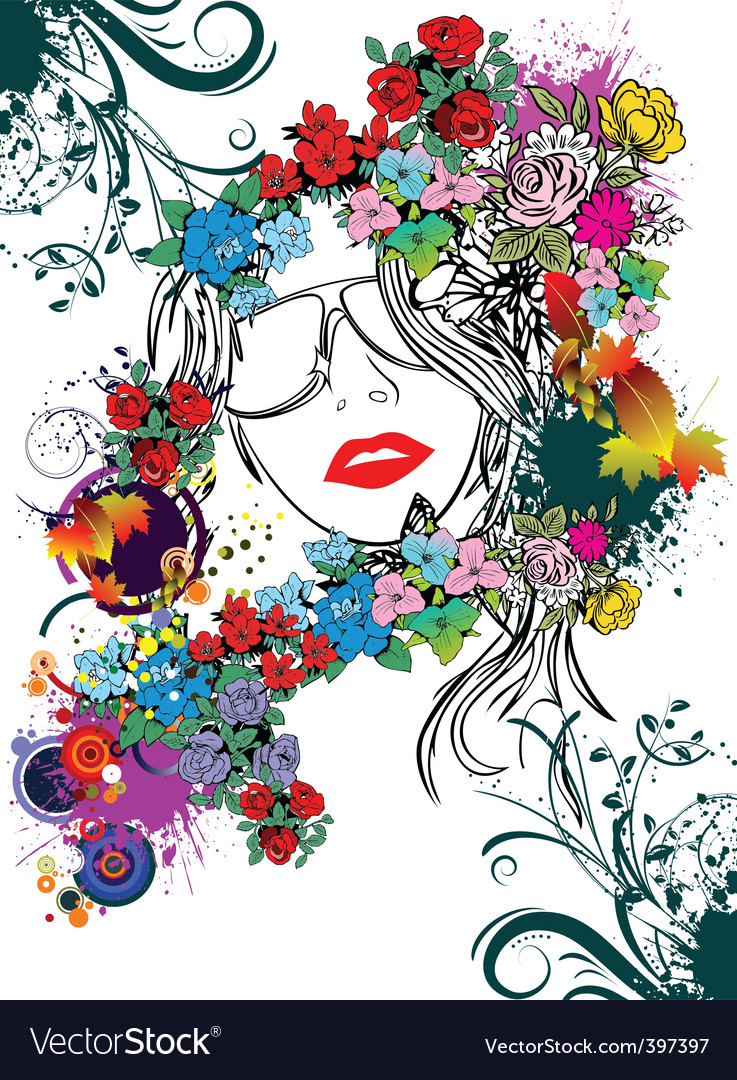 Floral face vector | Price: 1 Credit (USD $1)
