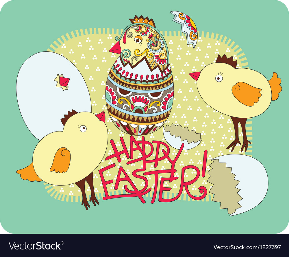 Hand draw ornate easter greeting card vector | Price: 1 Credit (USD $1)
