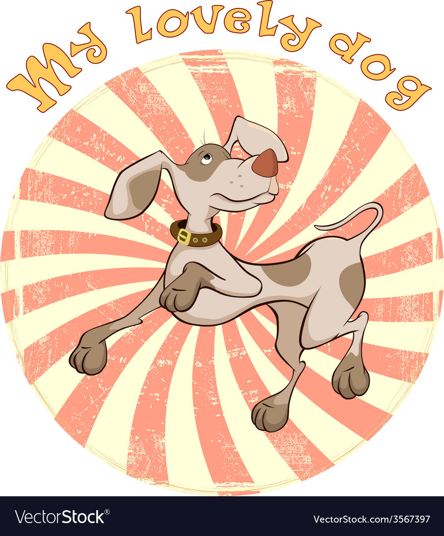 Hunting dog badge cartoon vector | Price: 1 Credit (USD $1)