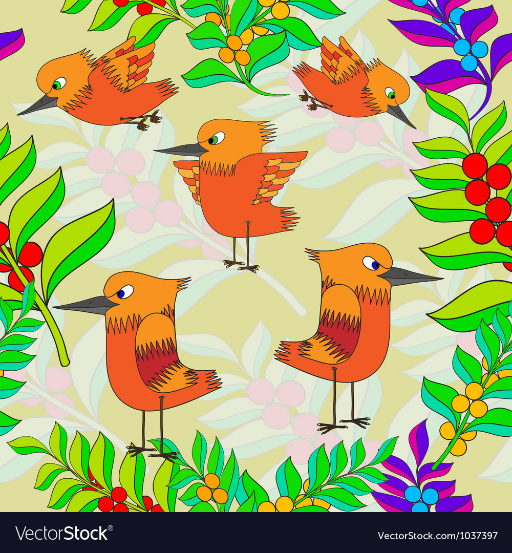Little birds sing songs seamless texture vector   Price: 1 Credit (USD $1)
