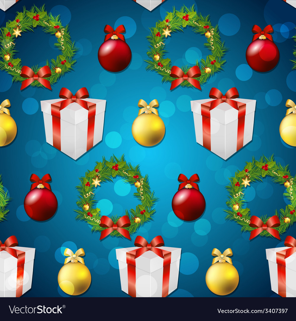 New year pattern with tree toys gift ribbon and vector   Price: 1 Credit (USD $1)