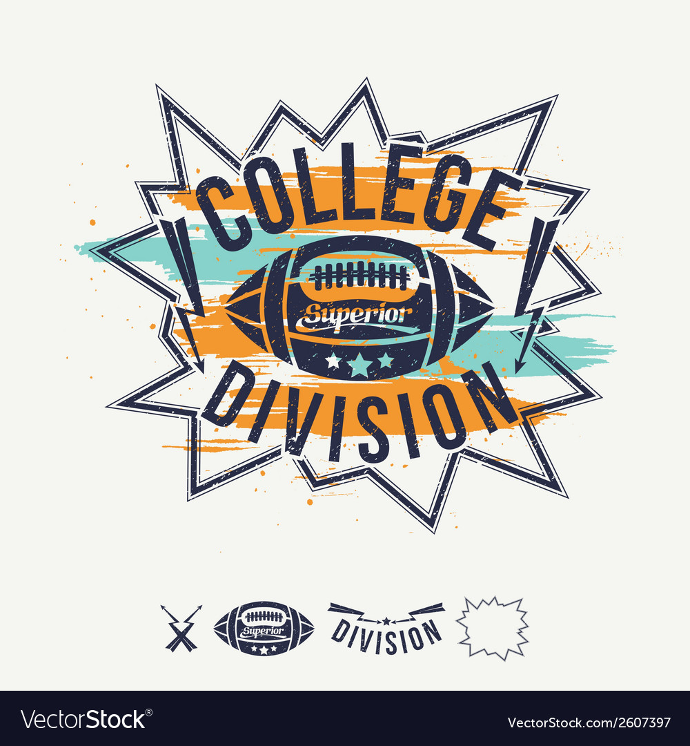 Rugby emblem college division and design elements vector | Price: 1 Credit (USD $1)