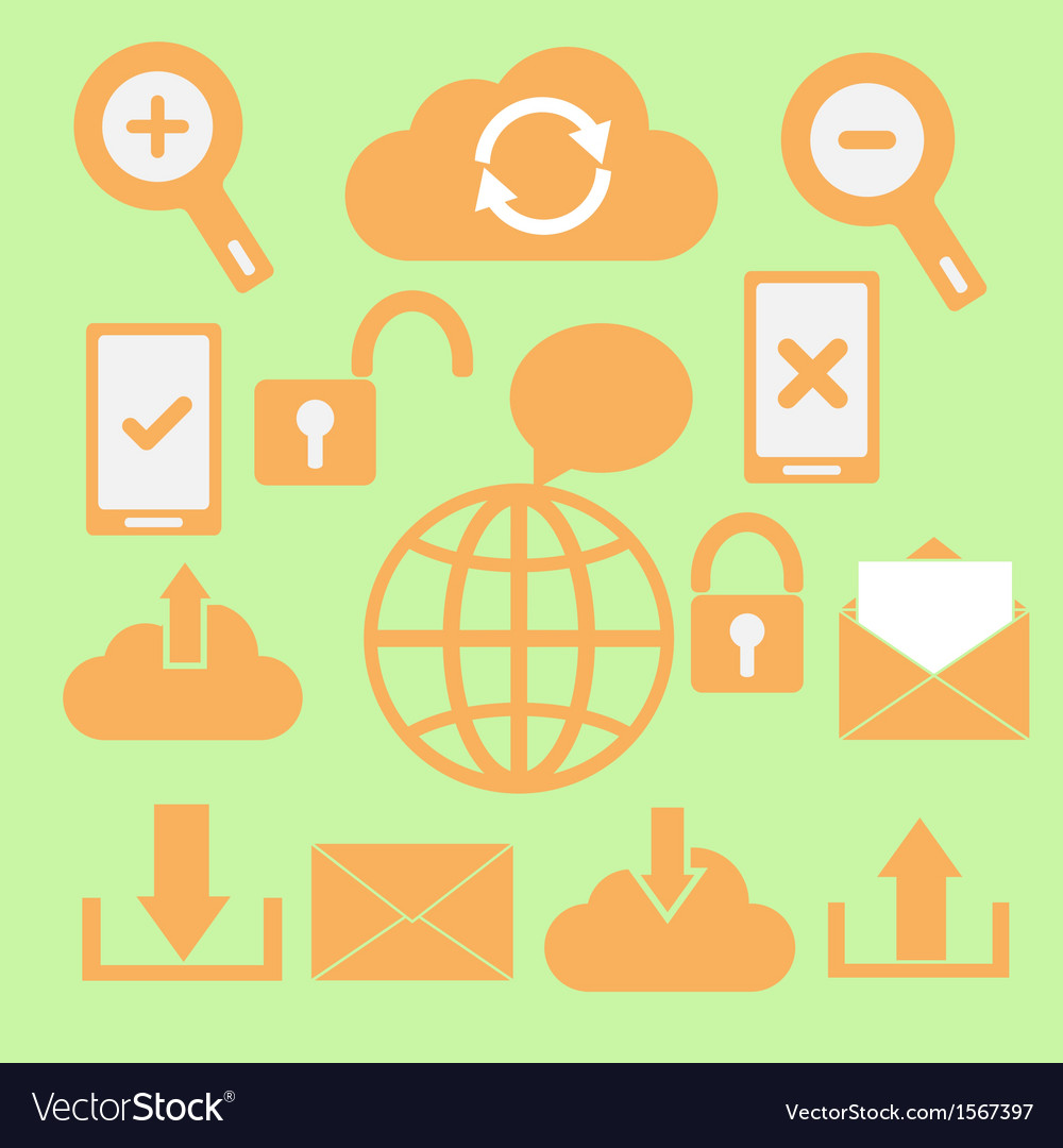 Set of communication icons on green background vector   Price: 1 Credit (USD $1)