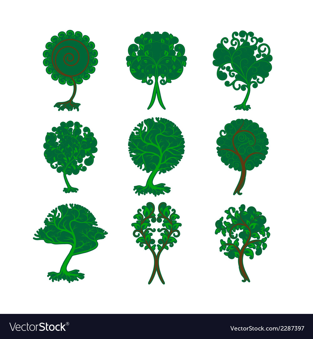 Set of decorative trees for design vector | Price: 1 Credit (USD $1)
