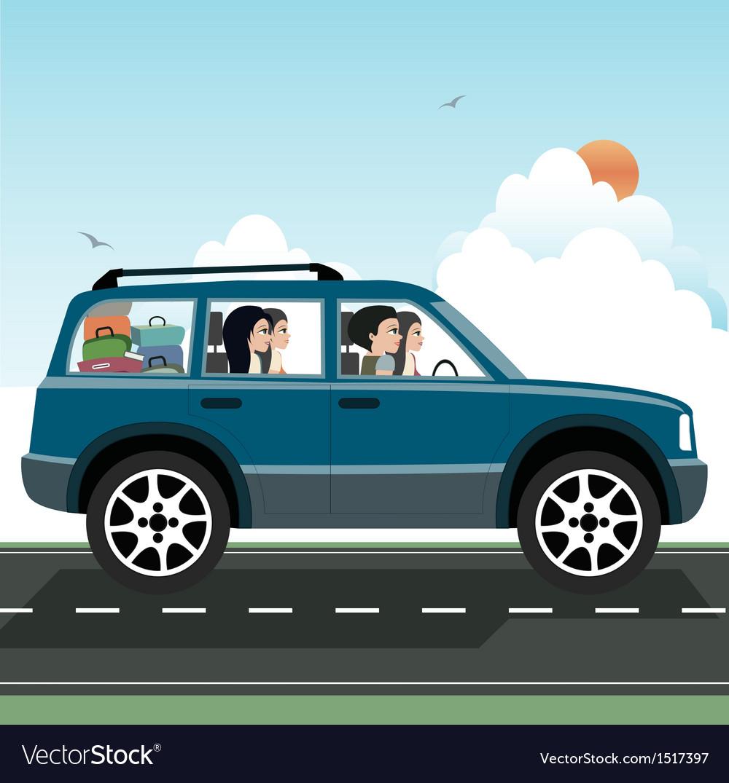 Women driving vector | Price: 3 Credit (USD $3)