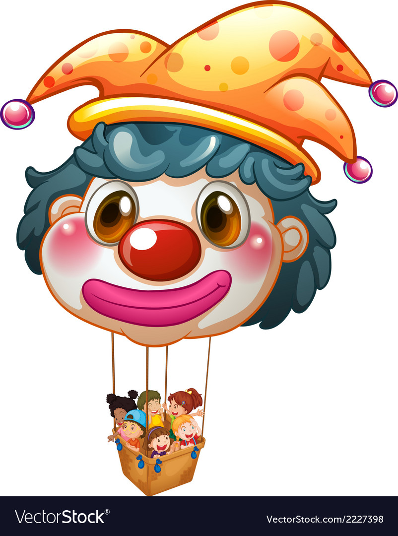 A big clown balloon with kids in the big basket vector | Price: 1 Credit (USD $1)