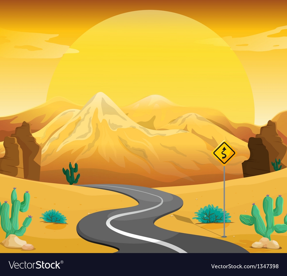 A winding road at the desert vector | Price: 1 Credit (USD $1)