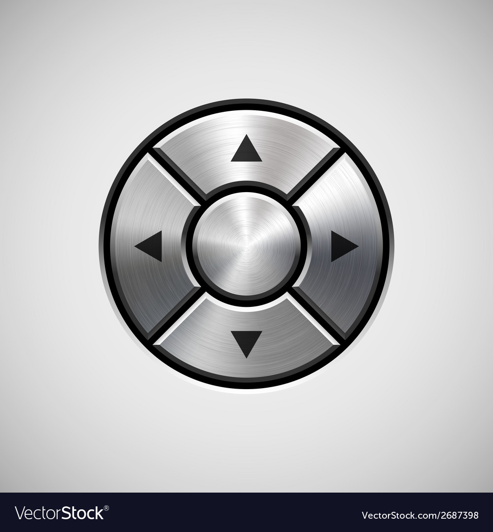 Abstract joystick button with metal texture vector