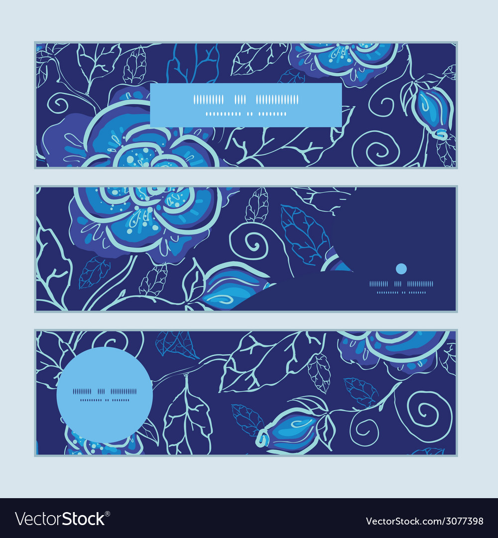 Blue night flowers horizontal banners set pattern vector | Price: 1 Credit (USD $1)