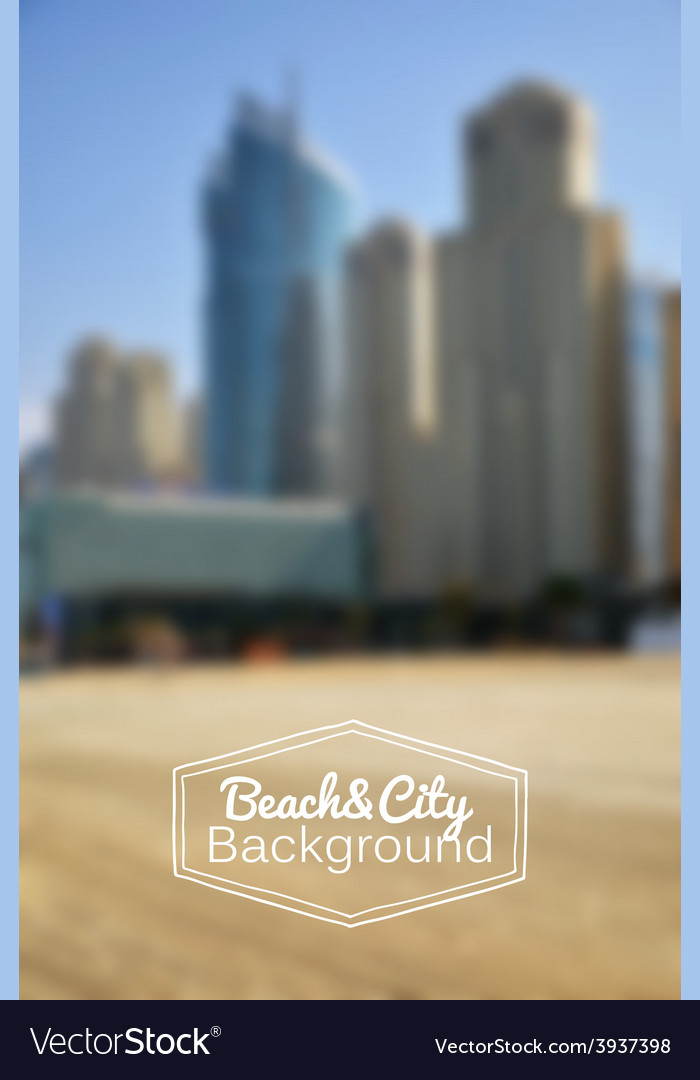 Blurred day beach and city background vector | Price: 1 Credit (USD $1)