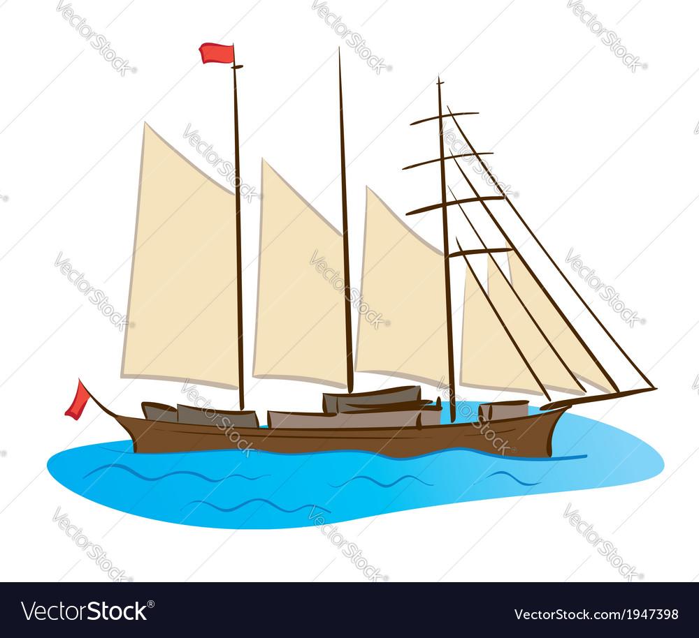 Color sailing ship vector | Price: 1 Credit (USD $1)