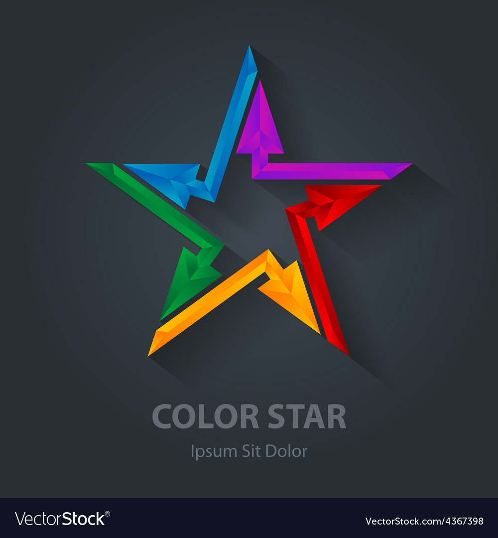 Colorful 3d star logo with arrows star-shaped vector | Price: 1 Credit (USD $1)