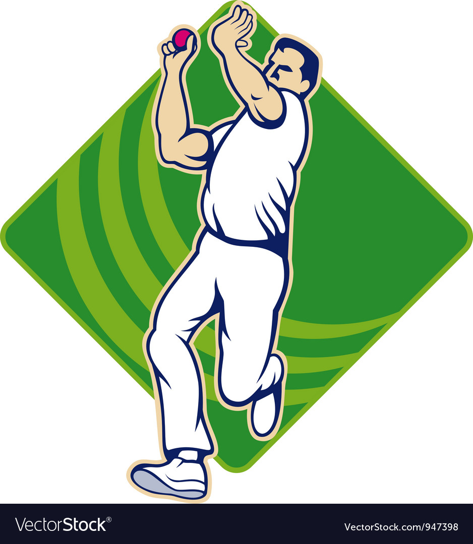 Cricket bowler bowling ball front vector | Price: 1 Credit (USD $1)