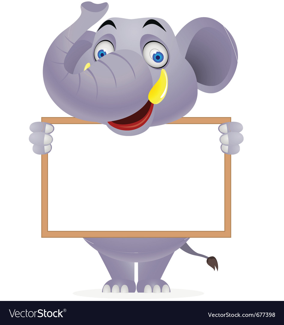 Elephant with blank sign vector | Price: 3 Credit (USD $3)