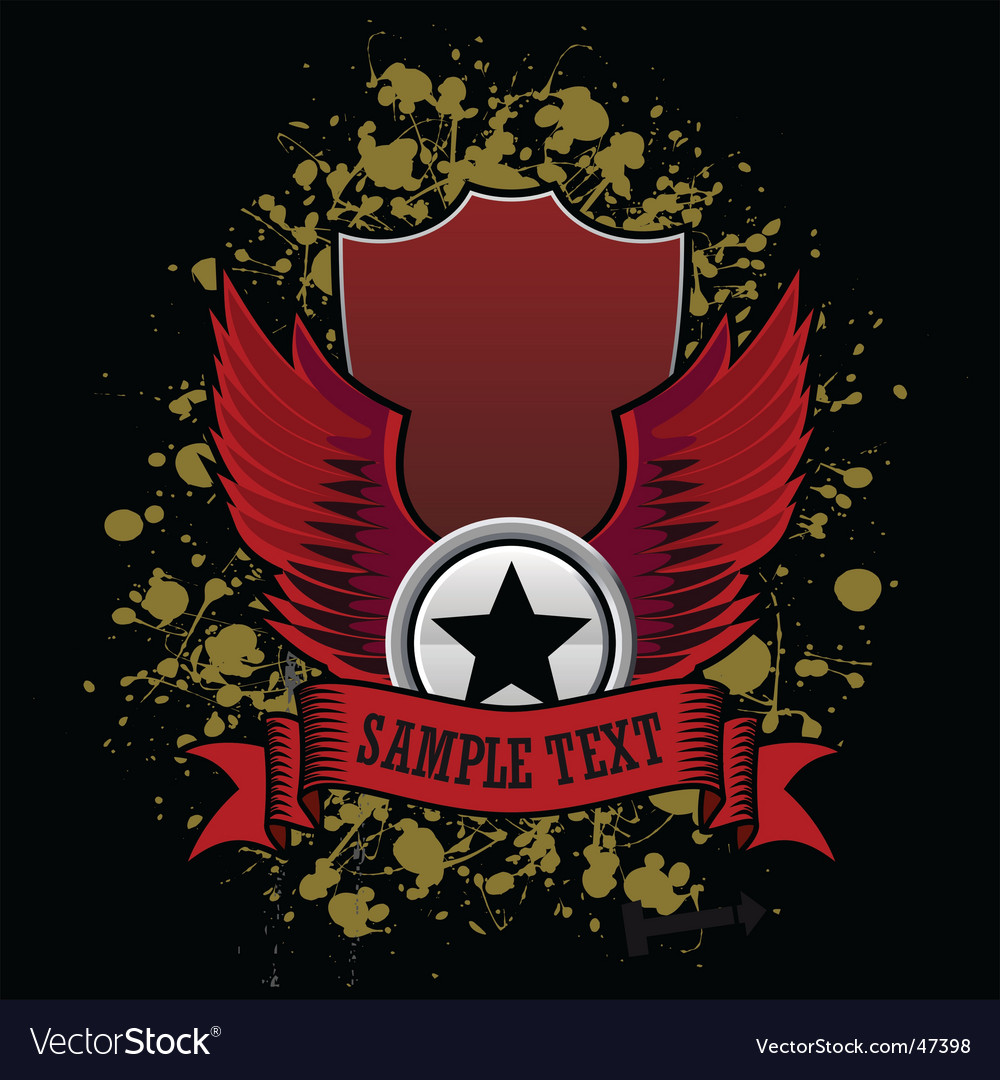 Grunge star wings vector