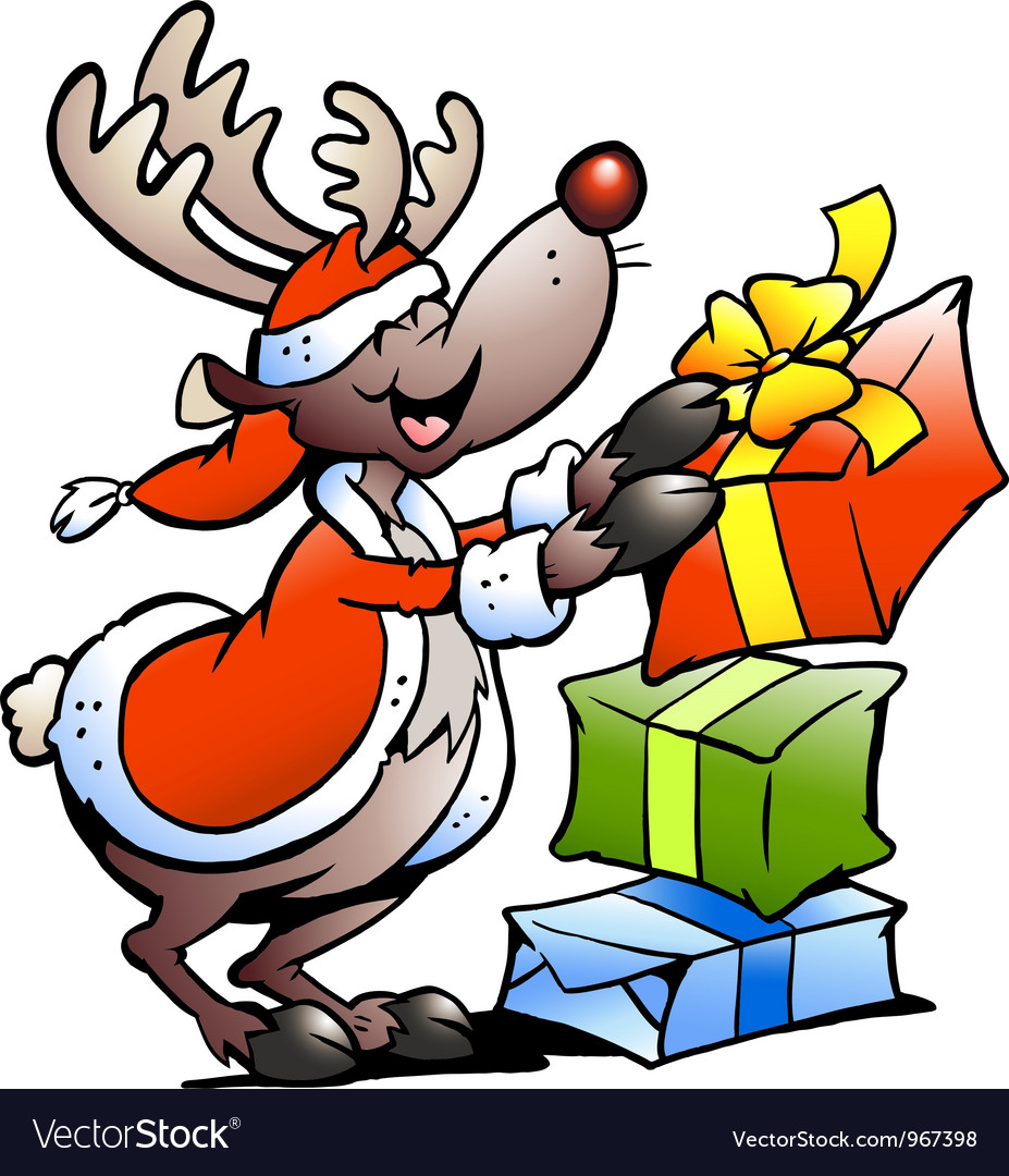 Hand-drawn of an reindeer with gifts vector | Price: 1 Credit (USD $1)