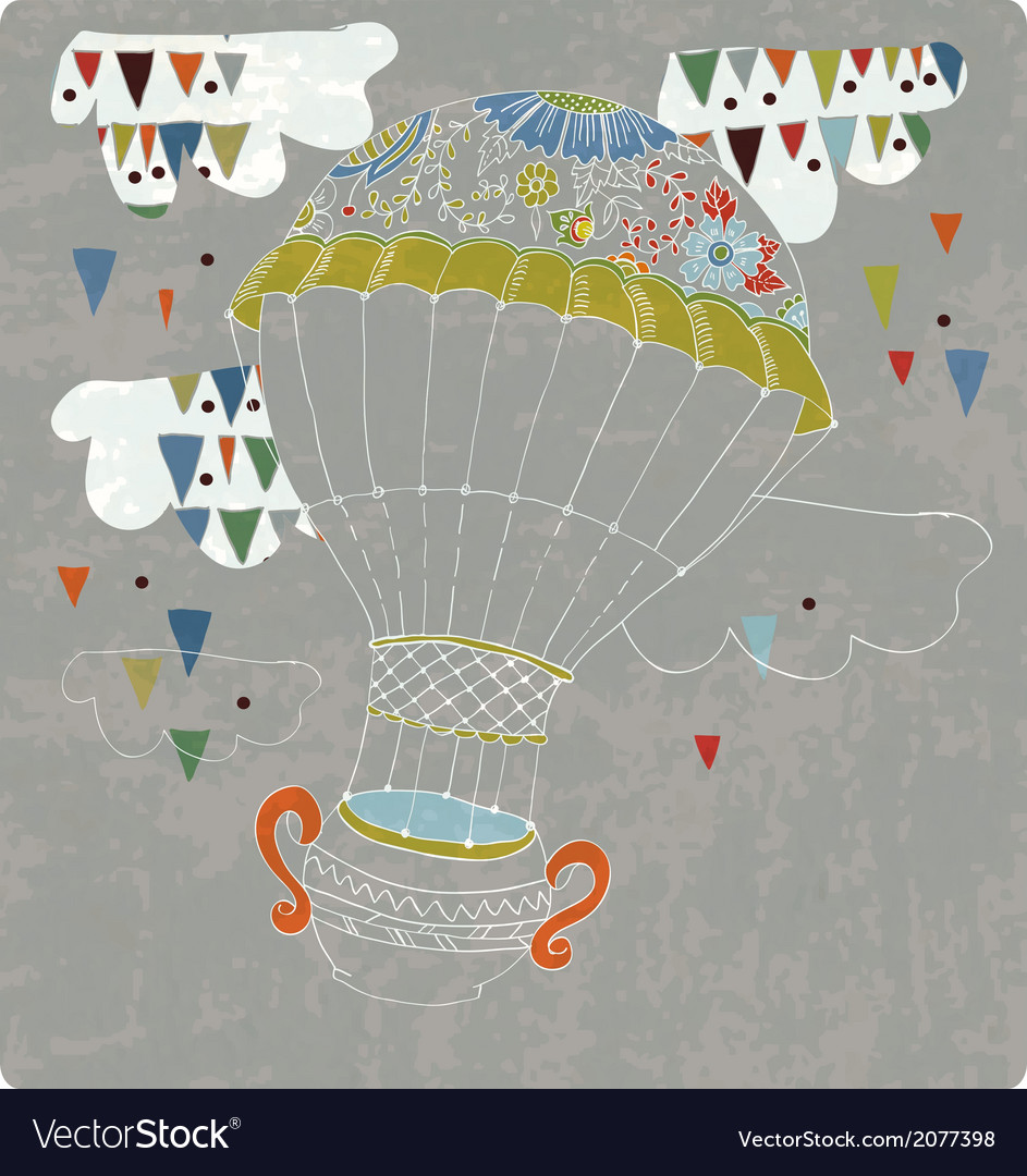 Hot air balloon in sky with tea cup and abstract vector | Price: 1 Credit (USD $1)