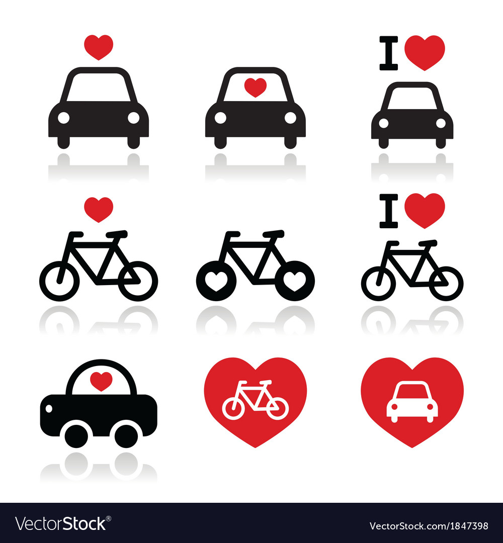 I love cars and bikes icons set vector | Price: 1 Credit (USD $1)