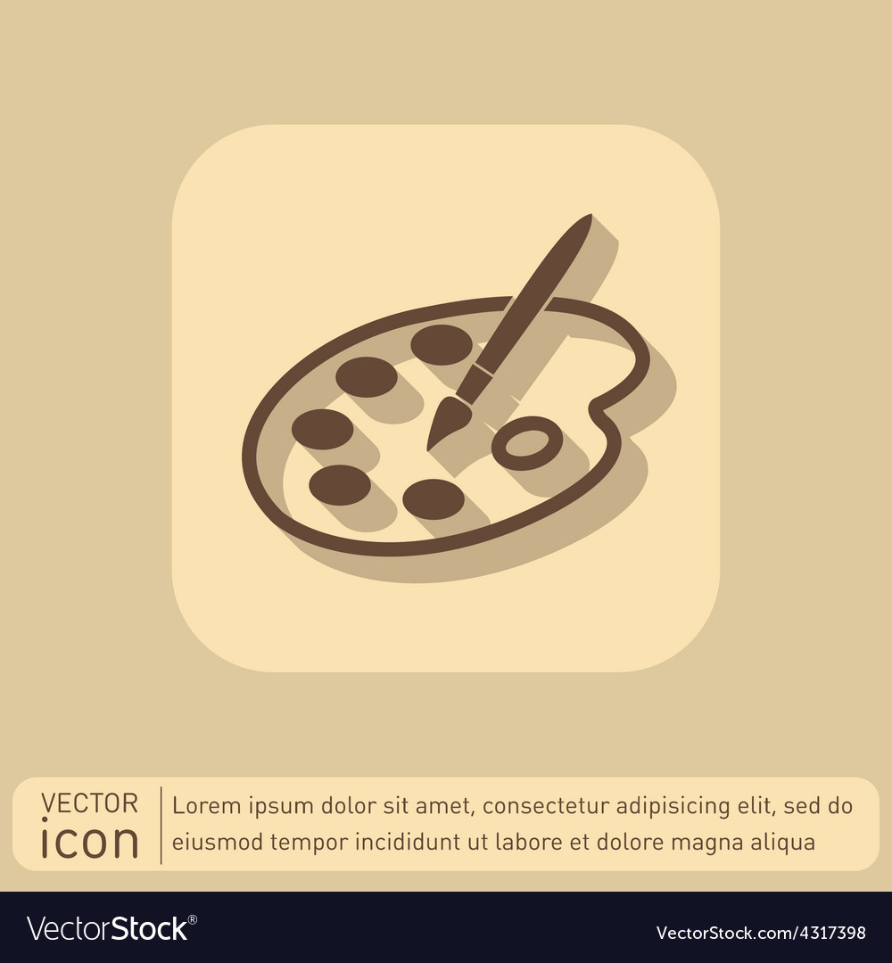 Palette with brush symbol of art icon painting vector | Price: 1 Credit (USD $1)