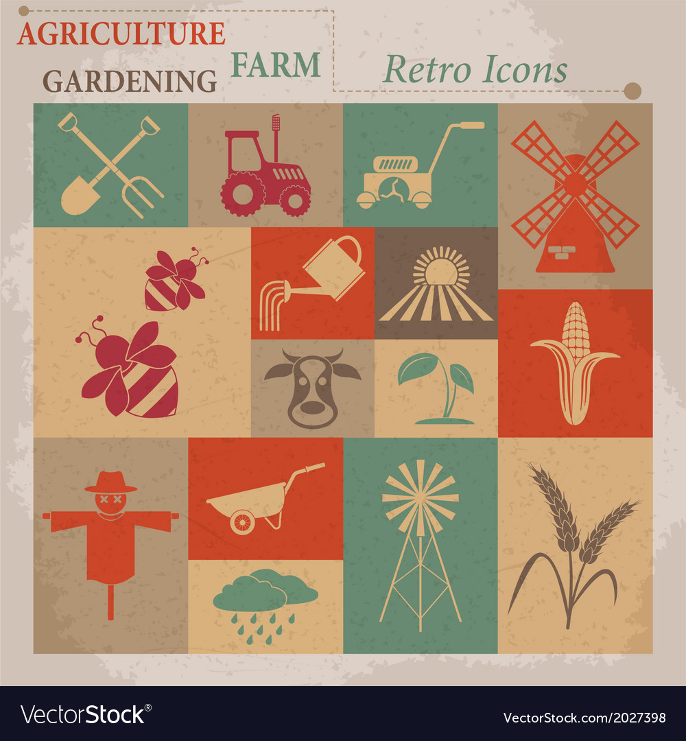 Retro agriculture and farming icons vector | Price: 1 Credit (USD $1)