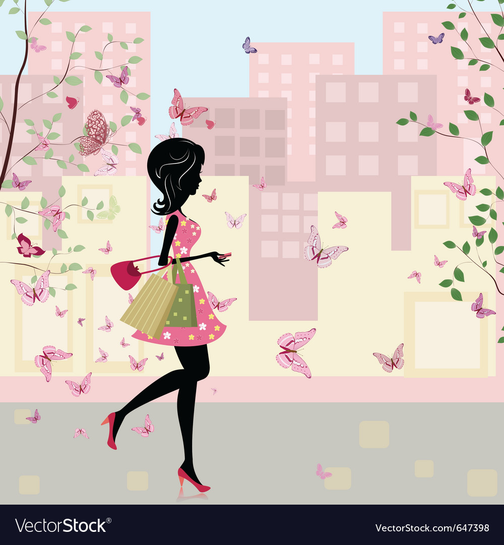 Spring shopping vector | Price: 1 Credit (USD $1)