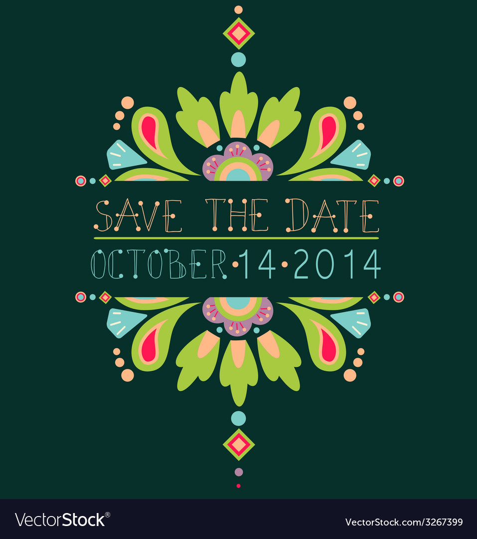 Floral save the date invitation card vector | Price: 1 Credit (USD $1)