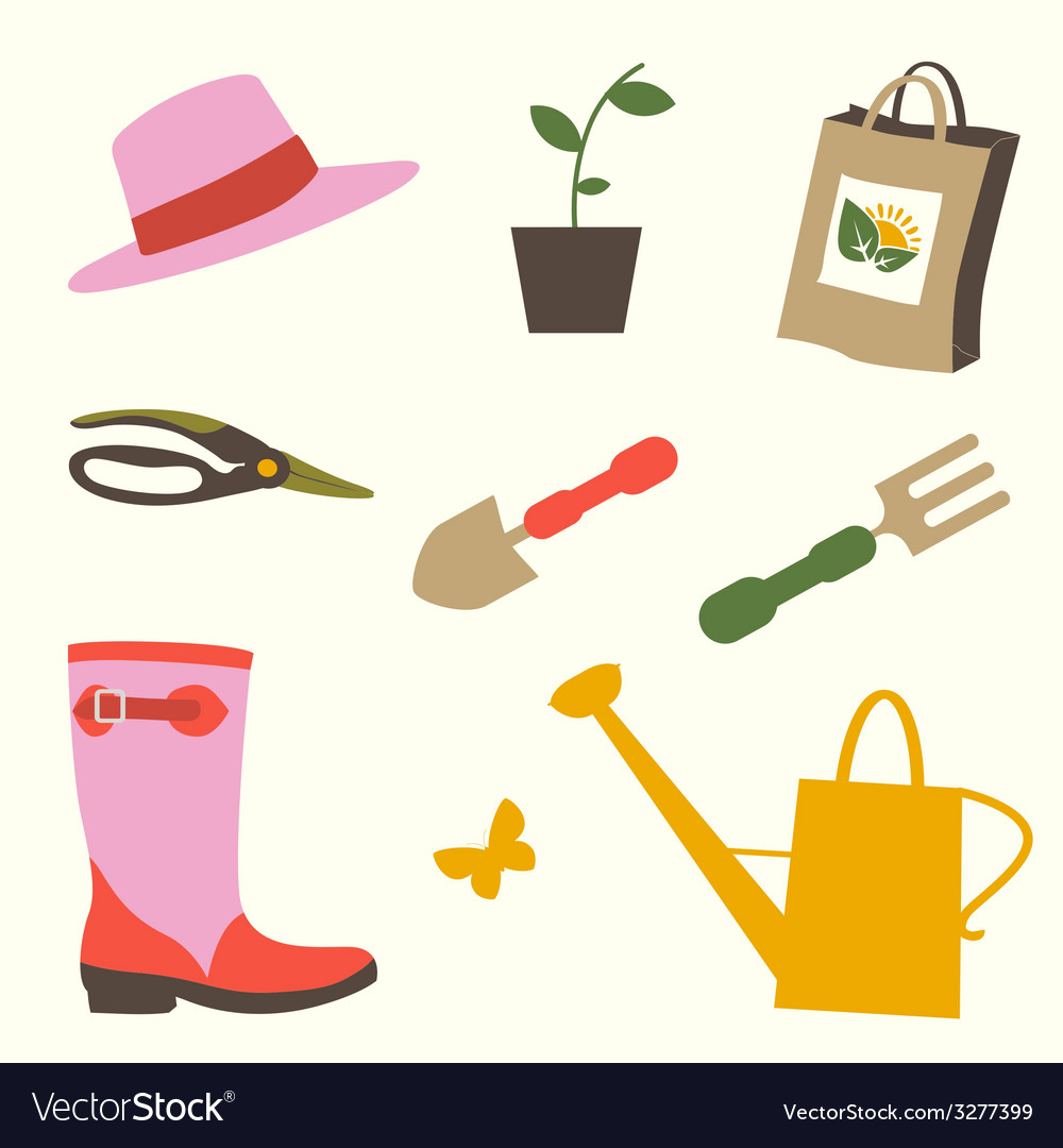 Gardening objects set vector | Price: 1 Credit (USD $1)