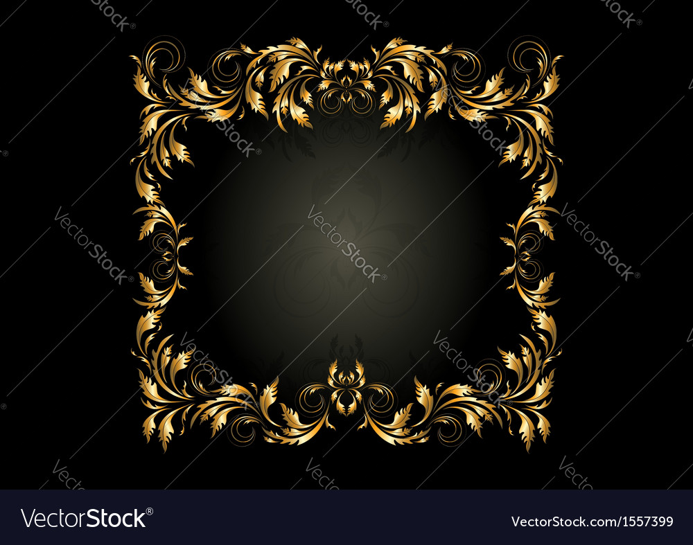 Luxury gold square frame with decor of spirals vector | Price: 1 Credit (USD $1)